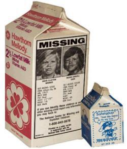 Milk cartons from The National Child Safety Council
