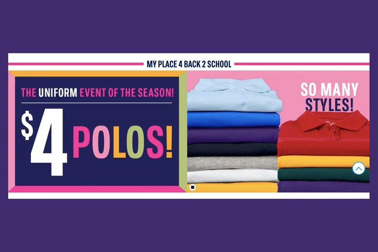 A stack of polos is seen alongside text advertising polos.
