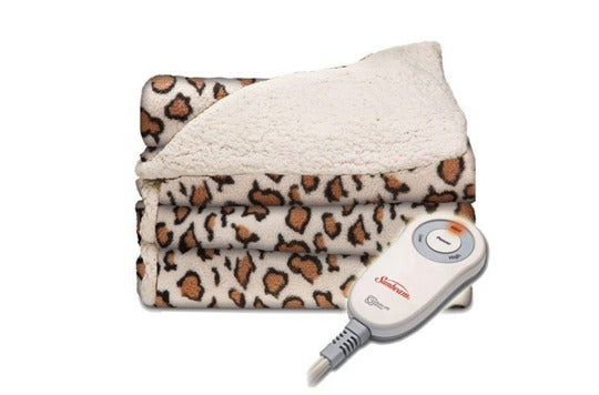 Sunbeam leopard print with sherpa electric throw.