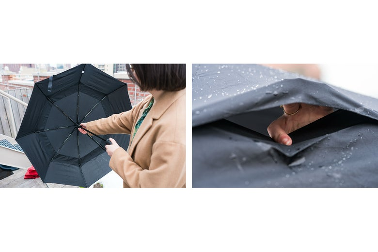 close up of AmazonBasics Automatic Travel Umbrella wind vent
