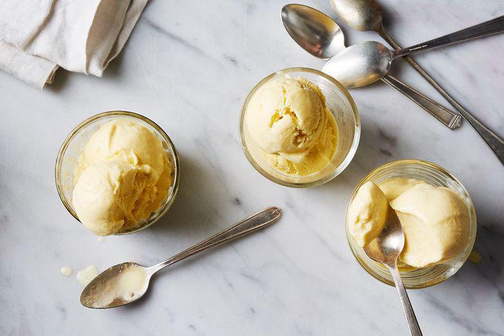 Three bowls of corn ice cream.