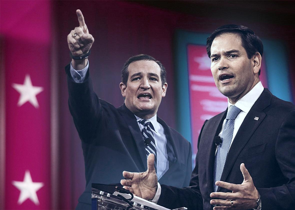 U.S. Sen. Ted Cruz (R-TX), left, and Florida Senator Marco Rubio