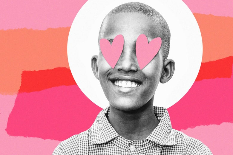 13 year old boy with hearts over his eyes, photo collage.
