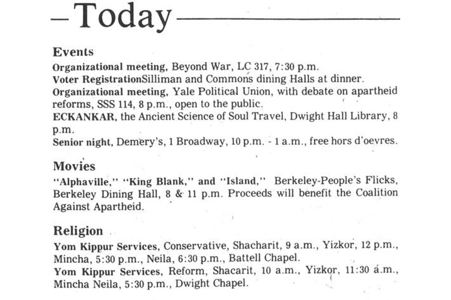 A list of campus events from the Yale Daily News, including hor d'ouevres at Demery's.