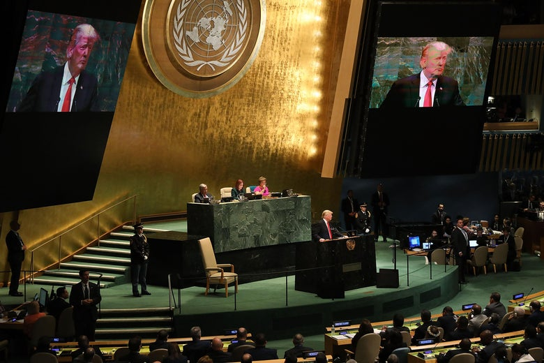 Trump speaks at the central podium of the U.N. General Assembly Hall.