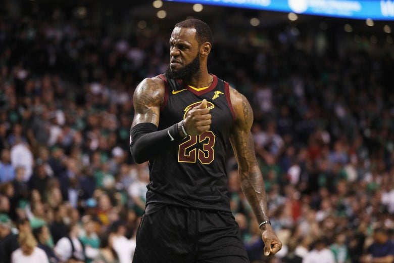 BOSTON, MA - MAY 27:  LeBron James #23 of the Cleveland Cavaliers reacts in the second half against the Boston Celtics during Game Seven of the 2018 NBA Eastern Conference Finals at TD Garden on May 27, 2018 in Boston, Massachusetts. NOTE TO USER: User expressly acknowledges and agrees that, by downloading and or using this photograph, User is consenting to the terms and conditions of the Getty Images License Agreement.  (Photo by Maddie Meyer/Getty Images)