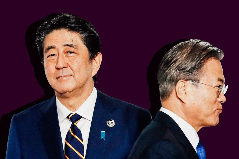 Japanese Prime Minister Shinzō Abe and South Korean President Moon Jae-in