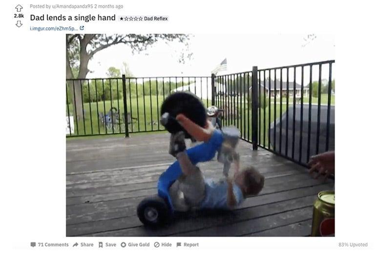 A child falling backwards off of a Big Wheel.