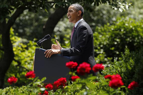 President Obama speaks about immigration from the Rose Garden of the White House in Washington June 15, 2012.