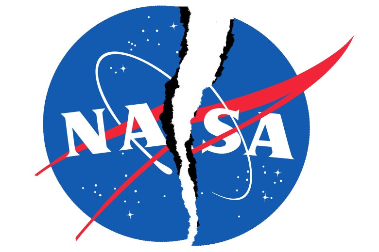 The NASA logo, ripped down the center.