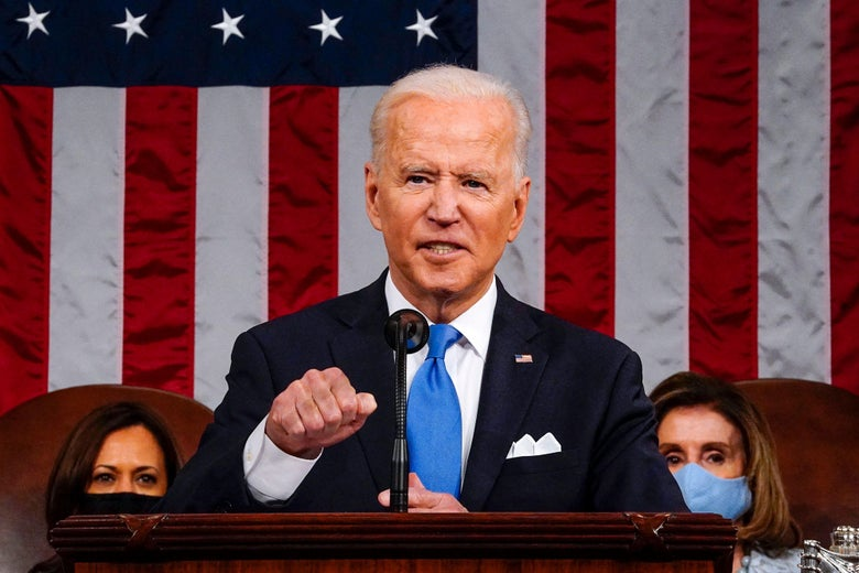 Biden in front of an American flag