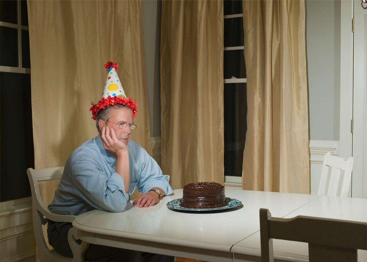 Jeb Bush waiting for people to show up to his Republican party.