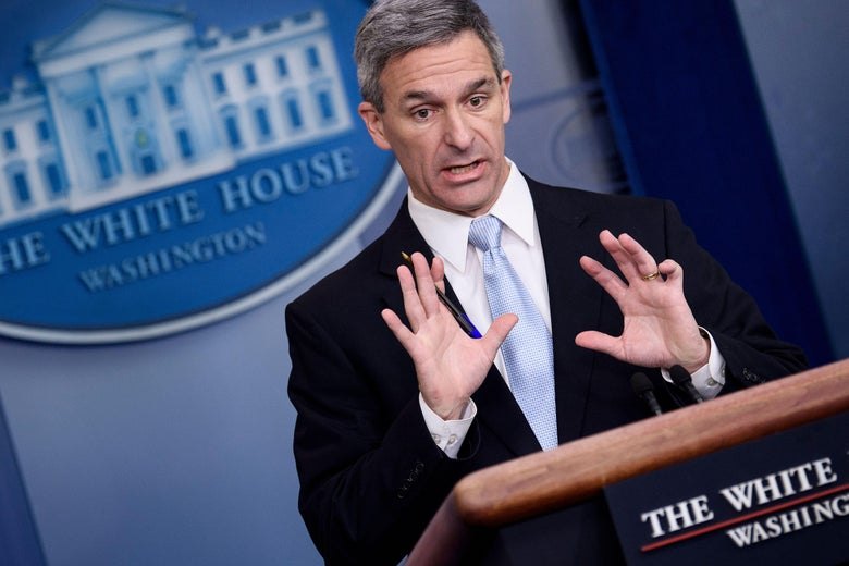 Acting Director of the US Citizenship and Immigration Services Ken Cuccinelli speaks during a briefing at the White House August 12, 2019, in Washington, D.C.