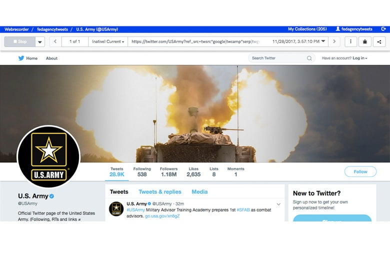 Screenshot of author's web archive of @USArmy, providing a window into what the Twitter account looked like on Nov. 27, 2017.