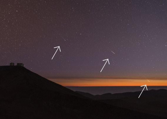 Photo of Pan-STARRS, Lemmon, and a meteor