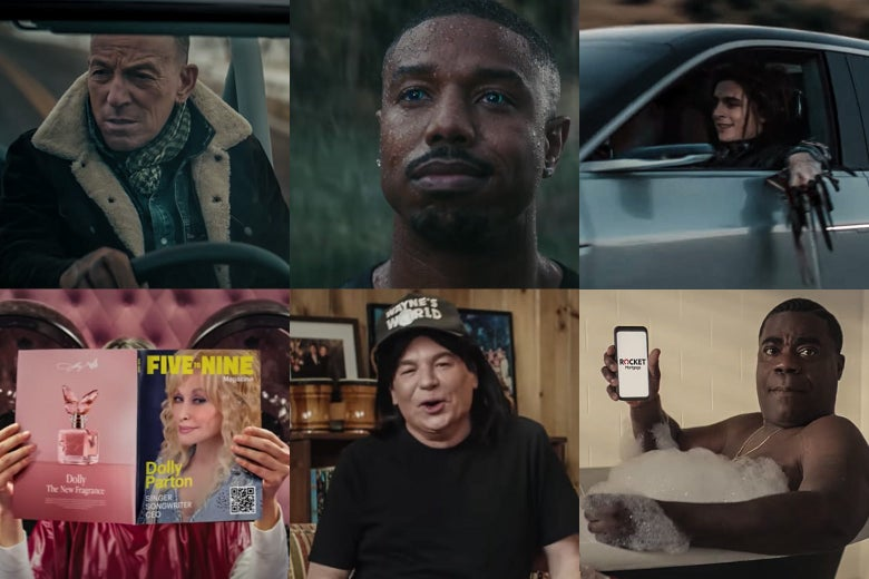 Collage of stills from ads featuring Bruce Springsteen, Michael B. Jordan, Timothée Chalamet, Tracy Morgan, Mike Myers, and Dolly Parton.