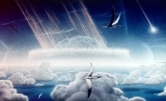 Artist Donald E. Davis depicts the Chicxulub asteroid slamming into the Yucatan Peninsula.