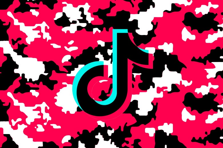 TikTok logo on a camo background.
