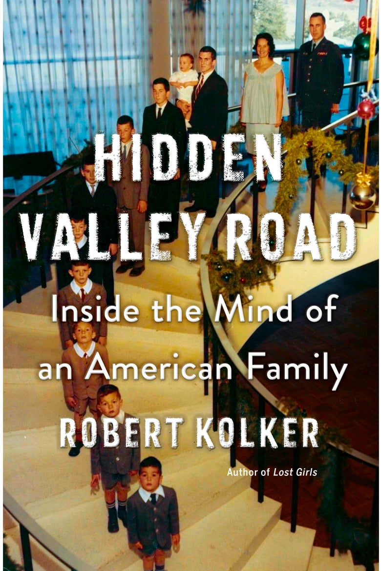 Hidden Valley Road book cover, an illustration of a large well-dressed white family descending a spiral staircase