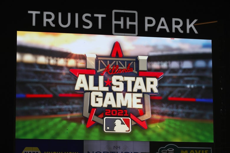 The 2021 All Star Game Logo is displayed on a jumbotron in Atlanta's Truist Park