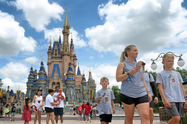 people walking in front of Cinderella's castle