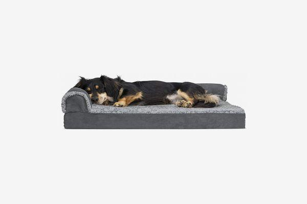 FurHaven Deluxe Chaise Faux Fur & Suede Pet Bed