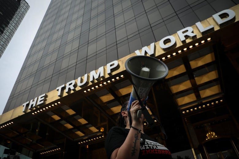 Activists rally outside of Trump World Tower to support immigrants and to mark World Refugee Day, June 20, 2018 in New York City.
