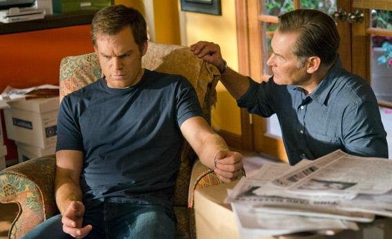 Michael C. Hall as Dexter Morgan and James Remar as Harry Morgan (Season 7, episode 12).