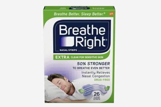 Breathe Right Nasal Strips to Stop Snoring, Drug-Free, Extra Clear, 26 Count.