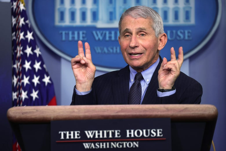 Fauci making air quotes with his hands
