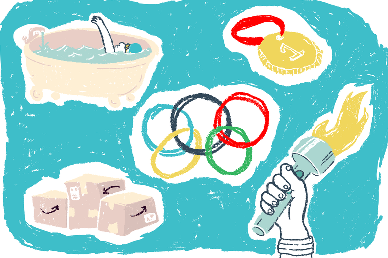 Collage of Olympics images.