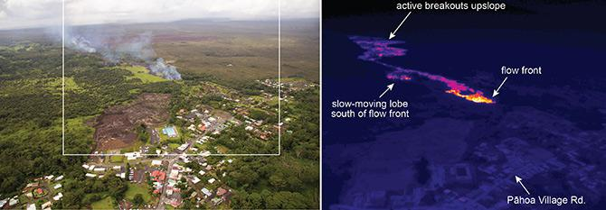 An aerial thermal image showed the lava's heat as it neared the town of Pahoa.