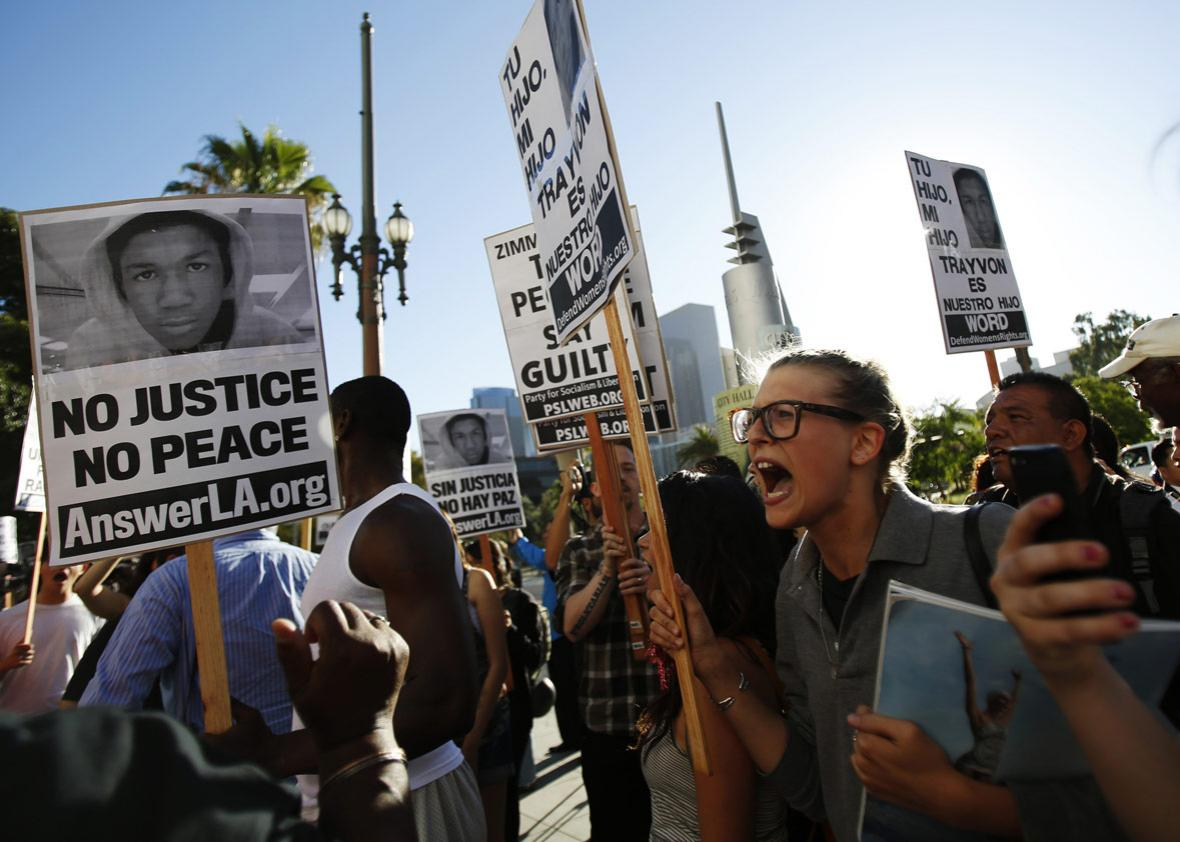 protest the acquittal of George Zimmerman for the shooting death of Florida teenager Trayvon Martin
