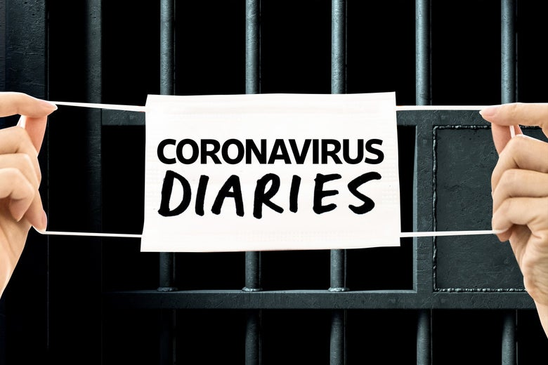 Coronavirus diaries written on a medical mask with a backdrop of prison cell bars