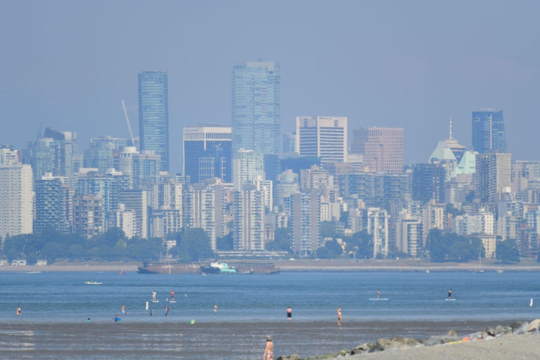 Vancouver, British Columbia, seen through a haze on a scorching hot day