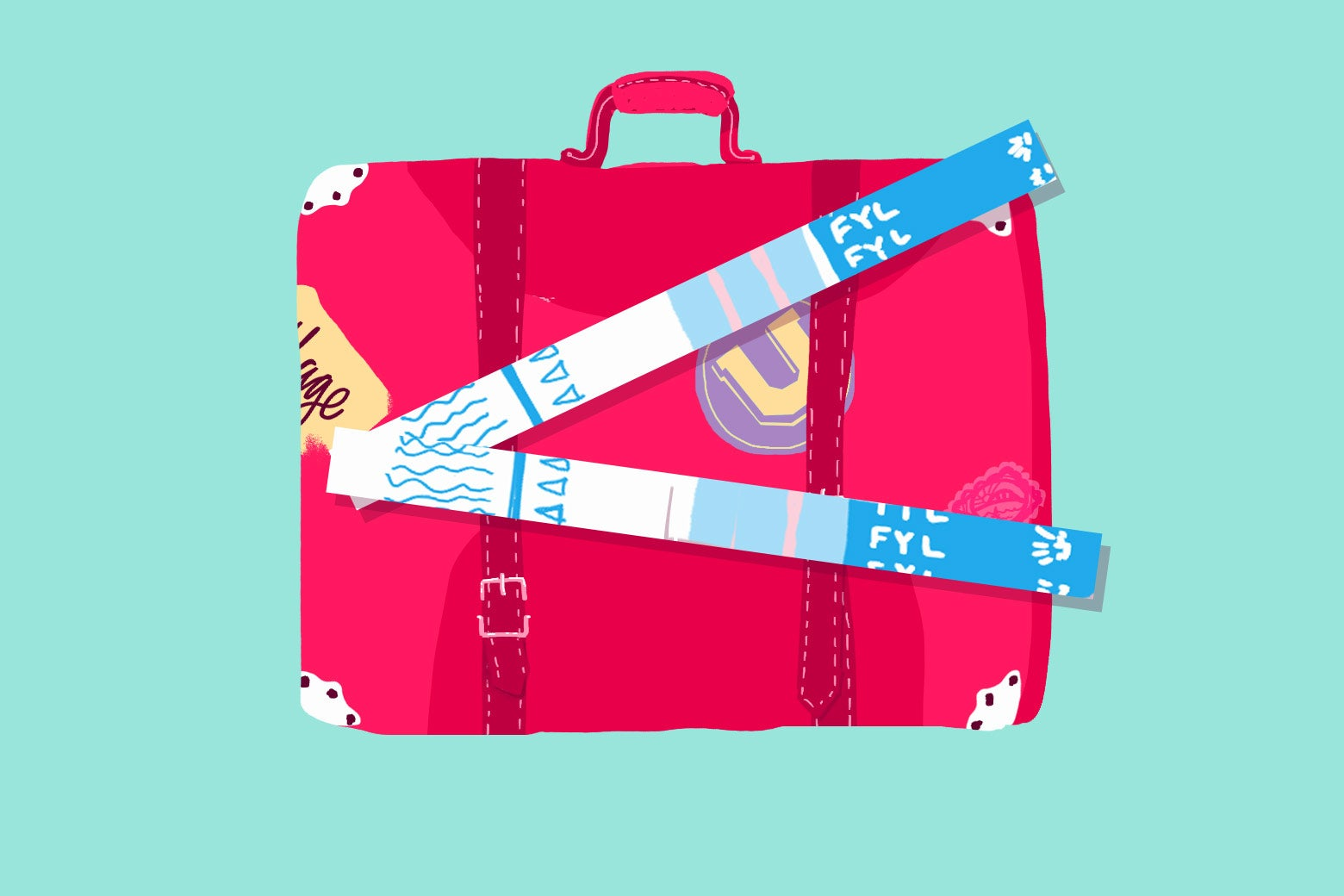 Luggage with FYL test strips.