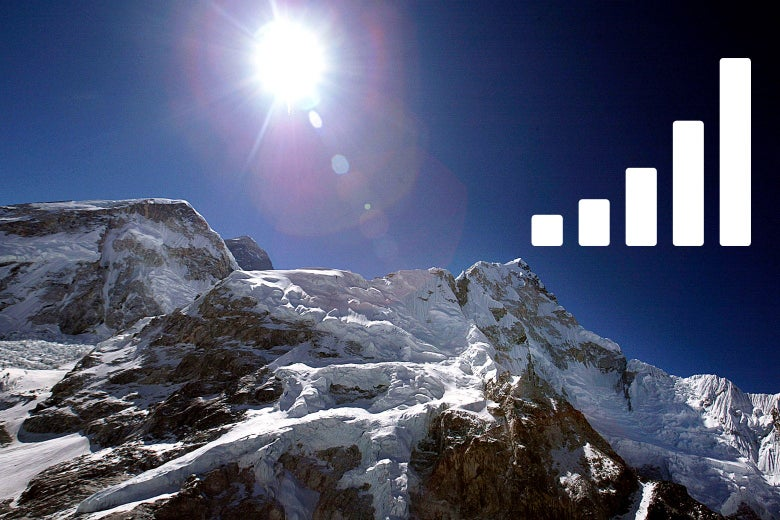 Mount Everest with cellphone reception bars.