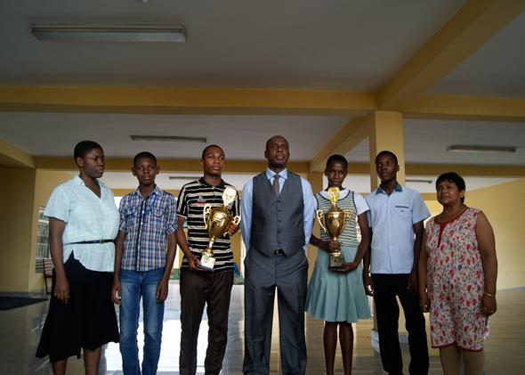 Governor Amaechi poses with top students and staff at one of the model secondary schools built by his administration. The schools are run by Indian education contractor Educomp Ltd.