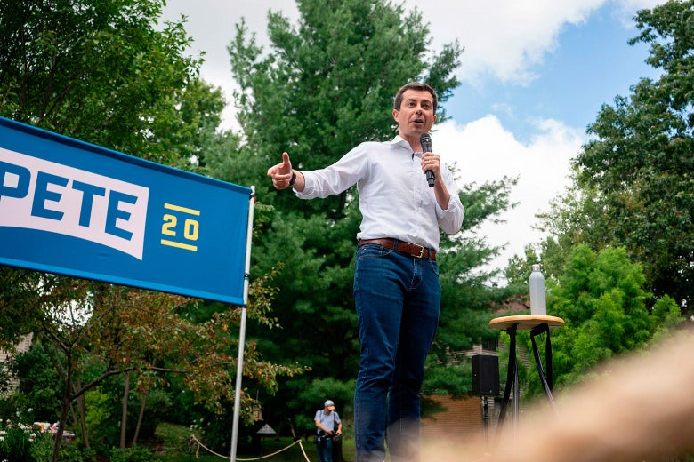 Pete Buttigieg speaks during a campaign event.