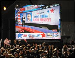 CNN announces his election on November 4, 2008 at Grant Park in Chicago, Illinois. Click image to expand.