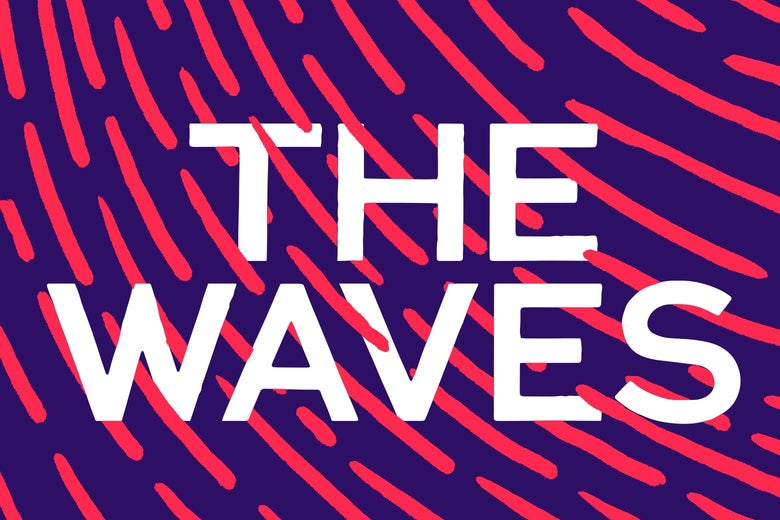 Logo for The Waves podcast, with show name in white text on blue and pink striped background