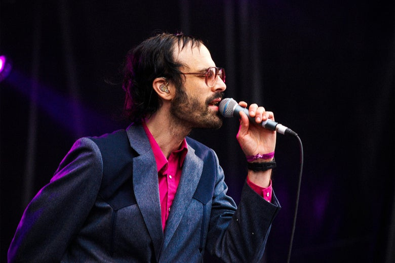 David Berman singing into a microphone.