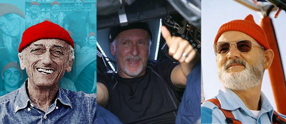 Jacques Cousteau, James Cameron and Steve Zissou wearing skullcaps.