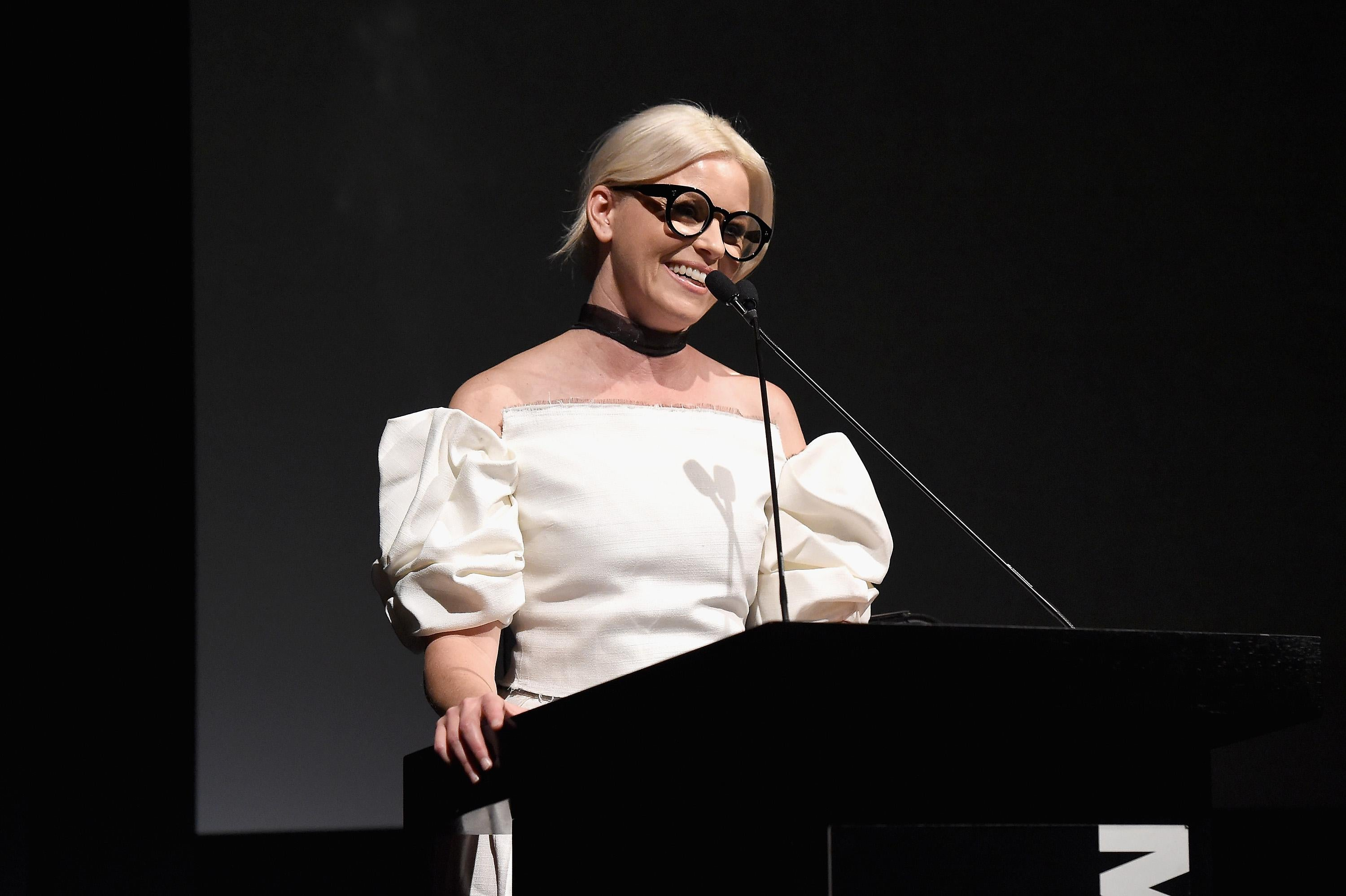Elizabeth Banks speaks onstage at The Museum of Modern Art Film Benefit
