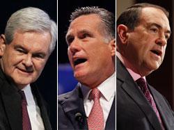 Newt Gingrich, Mitt Romney and Mike Huckabee.