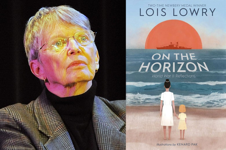 Lois Lowry and the cover of On the Horizon.