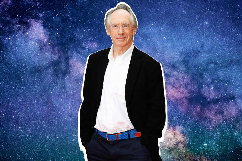 Ian McEwan in front of a starry view of space.