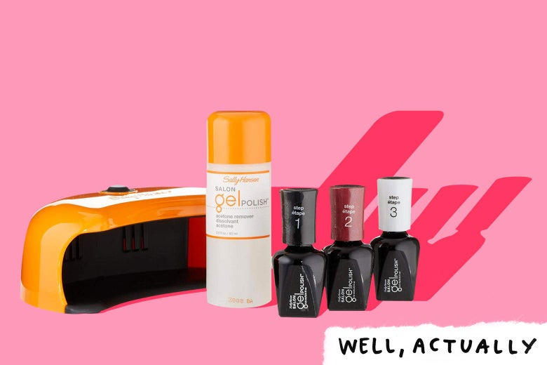 The Sally Hansen gel manicure set with the Well, Actually logo.