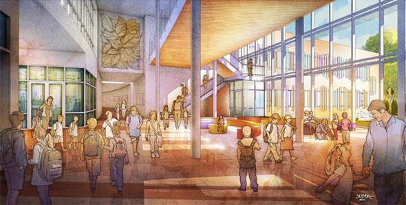 From the main central lobby, vistas of nature appear between the classroom wings connecting the inside and outside with tree-like columns.