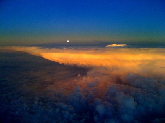 Moonrise from an airplane